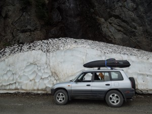 Snow mound in route to Salmon Glacier.
