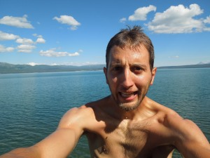 My reaction after jumping in, the only time I did.  By far the coldest lake dip of the trip.